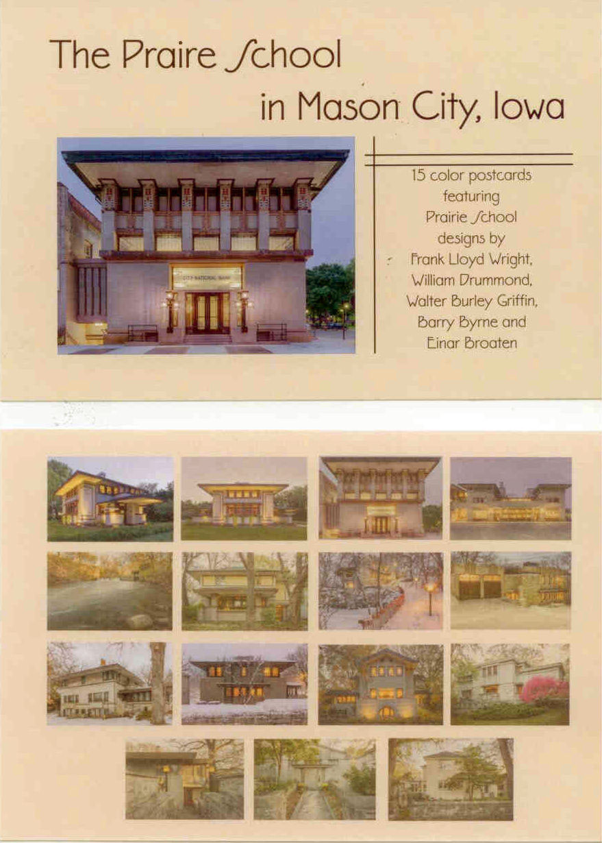 Pack of 15 postcards of the Prairie School in Mason City.