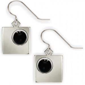 Malevich Black Circle Black Bead Earrings