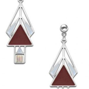 Wine Mahony Window Earrings