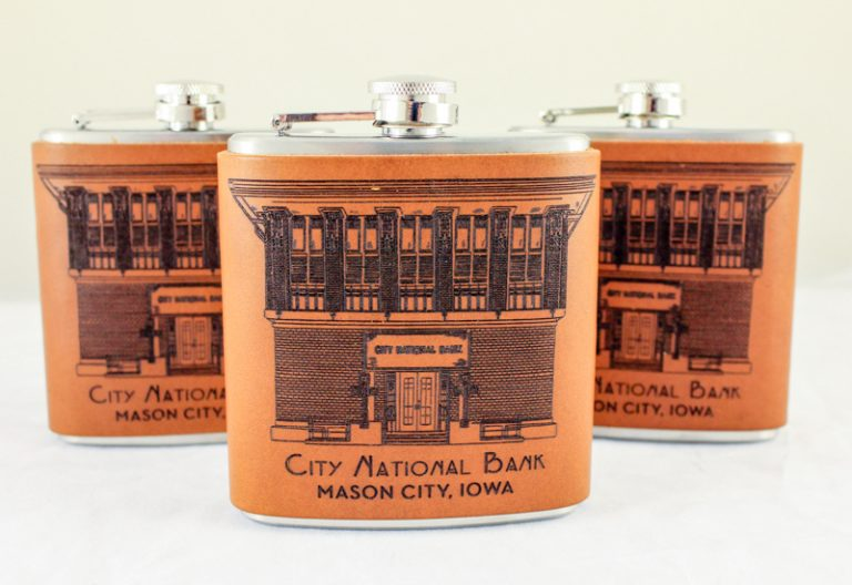 City National Bank Leather Bound Flask